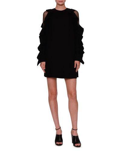 W0GHX Valentino Lace-Inset Ruffled Long-Sleeve Dress, Black