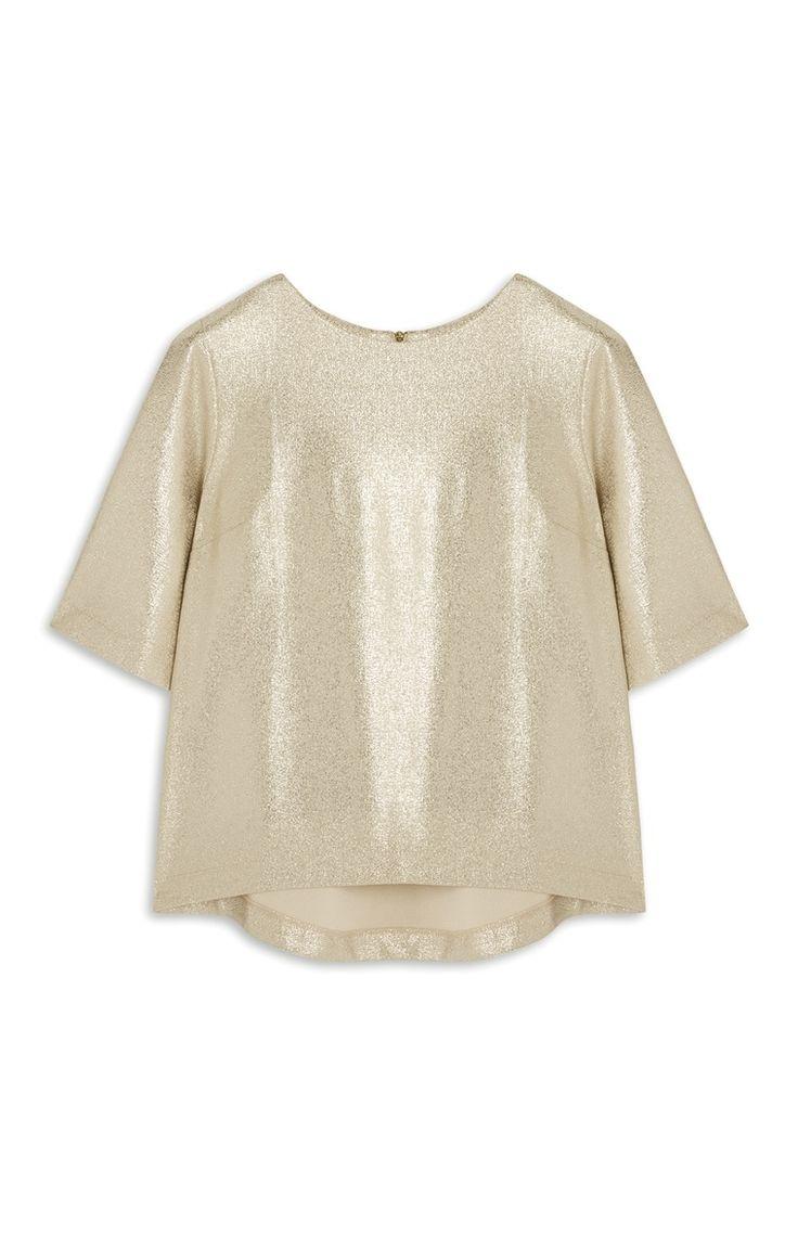Goldfarbenes T-Shirt in Metallic-Optik