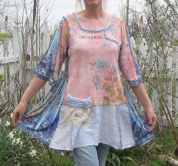 Upcycled Tunic Romantic Clothing Upcycled Clothing by AnikaDesigns,
