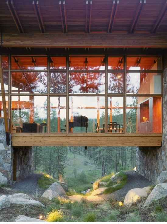 A Glass Walled-In Bridge: from main to guest areas interesting cool!!