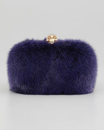 Classic Mink Fur Chain Skull-Clasp Clutch, Purple by Alexander McQueen at Bergdorf Goodman.