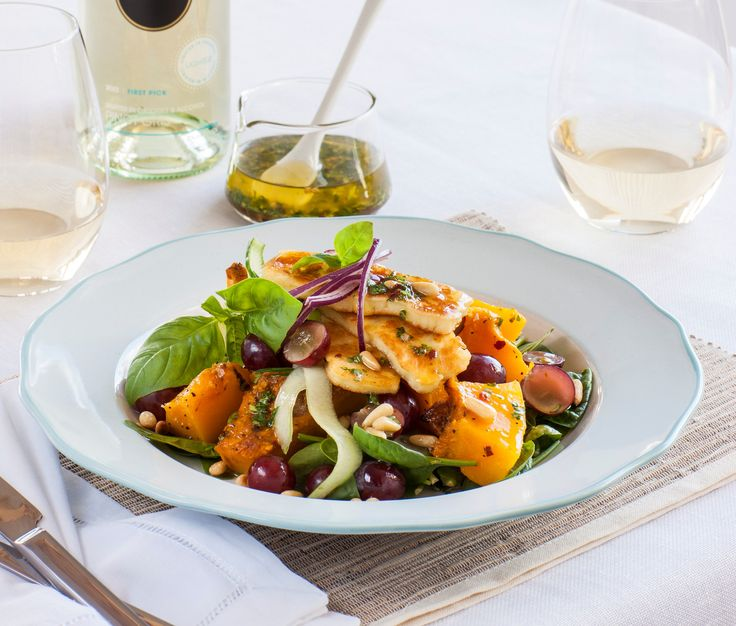 Crispy haloumi salad with roasted pumpkin & lemon coriander dressing