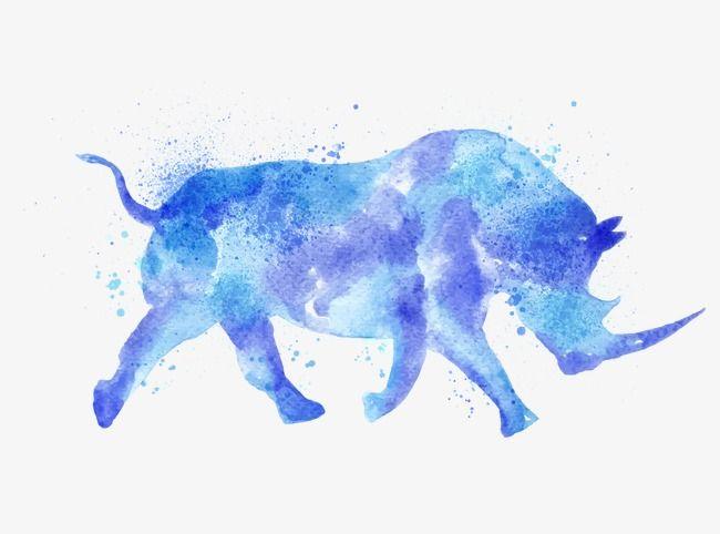 Dibujo de rinoceronte, Azul Acuarela Rhino, Hermosa, Tinta Imagen PNG