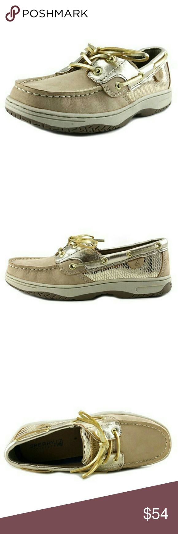 🆕Sperry Top-Sider Girls Bluefish Boat Shoes Description  The Sperry Top Sider Bluefish Casual Shoes feature a Suede upper with a Moc Toe . The Man-Made outsole lends lasting traction and wear.      YG54717     Brand Color: Silver Cloud/Gold (Main Color: Beige) New with Tags No Box. Sperry Shoes Slippers