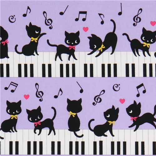 Black cat piano fabric by Cosmo