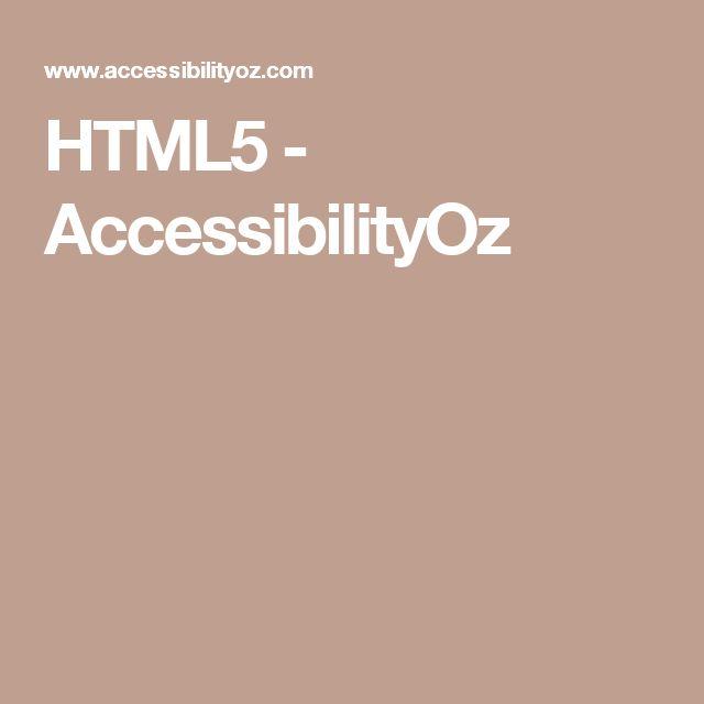 HTML5 - AccessibilityOz