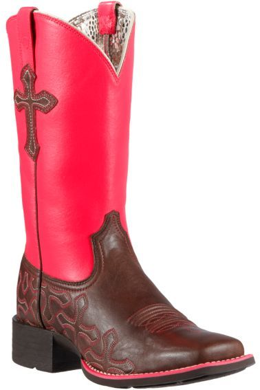DAYYUM!!! Ariat Crossroads Neon Pink Cowgirl Boots - Square Toe - Sheplers