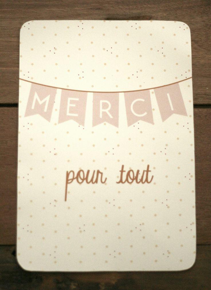 """Carte de remerciement """"merci pour tout""""                                                                                                                                                      Plus"""