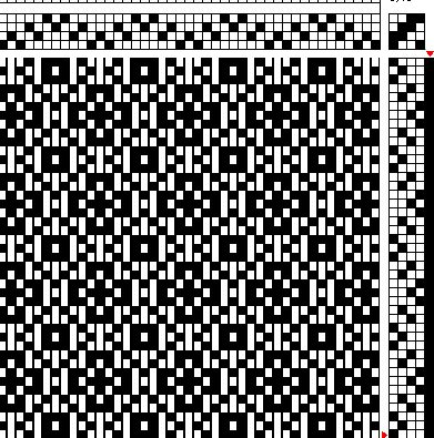 I made this draft, to be woven in twill or something like that (I apologize for not knowing the structures the way I should, but I´m working on that…). For this runner I decided to make some modifications, small ones, on the original draft, and I was very pleased with the result, that´s why I…
