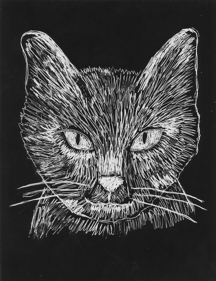 Art Projects for Kids: Scratch Art Cat Face