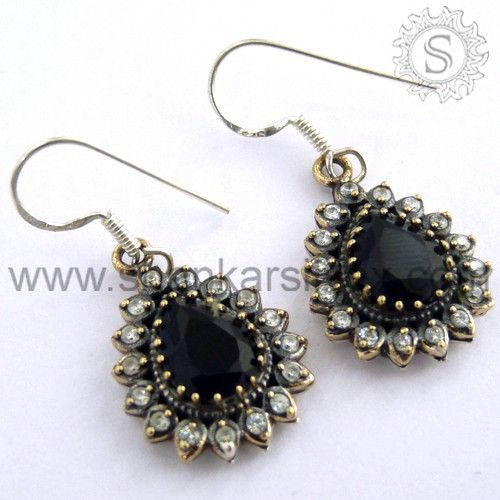 925 sterling silver blue sapphire and white CZ gemstone earrings for women.