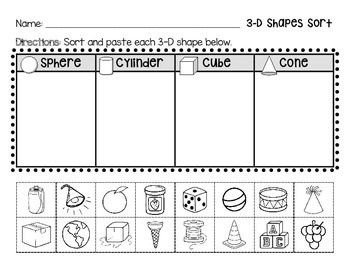 Use this cut and paste activity to help your students classify and name three dimensional shapes. Shapes included: sphere, cylinder, cube, and cone. Great addition to use with the popular YouTube song!