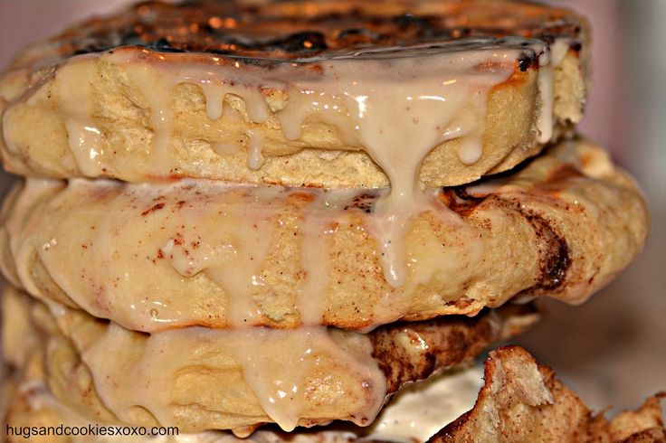 The cinnabon panini.... fun on a panini maker and stuffed with ice cream with that delicious glaze dripping down the sides!!
