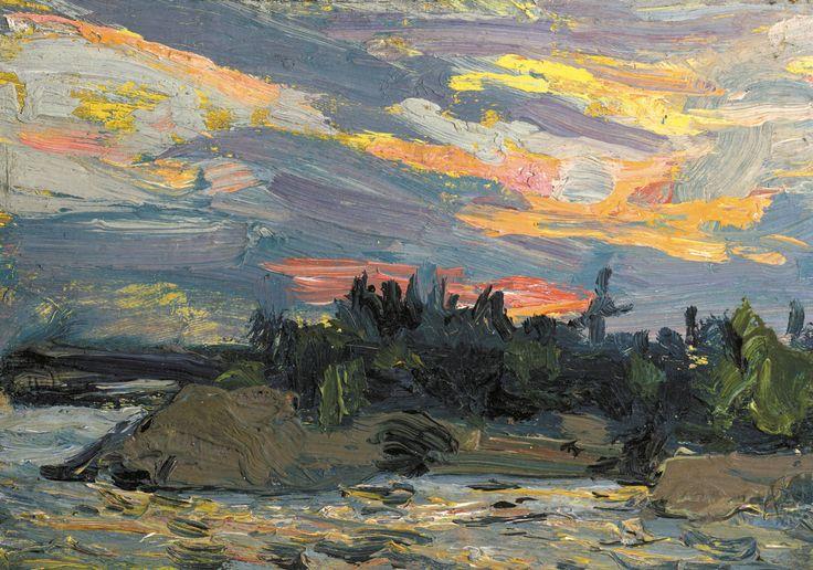 Tom Thomson (Canada 1877-1917)Sunset Canoe Lake, Fall 1915oil on board 21.3 x 26.3 cm