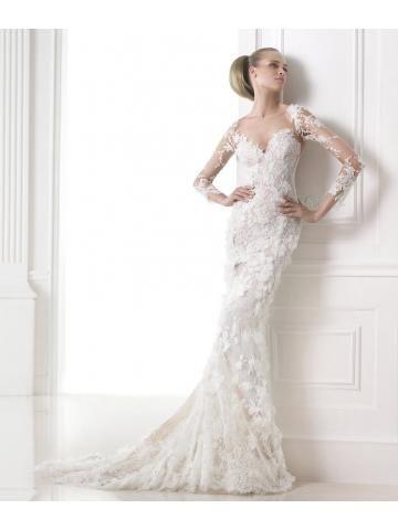 Romantisch afneembare tulle edelsteen borduurwerk kant rok zeemeermin trouwjurk