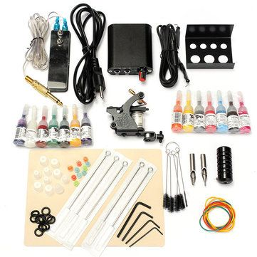 90-264V Professional Complete Equipment Tattoo Machine Gun 14Color Inks Power Supply Cord Kit