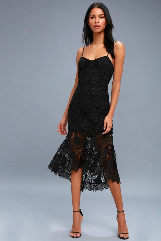 Lulus Exclusive! Heat up the dance floor in the Pure Passion Black Lace Bodycon Midi Dress! Adjustable spaghetti straps top a sleeveless princess-seamed bodice formed from chic crochet lace over a knit lining. Fitted waist and bodycon midi skirt with a sheer, high-low, trumpet hem. Exposed silver back zipper/clasp.