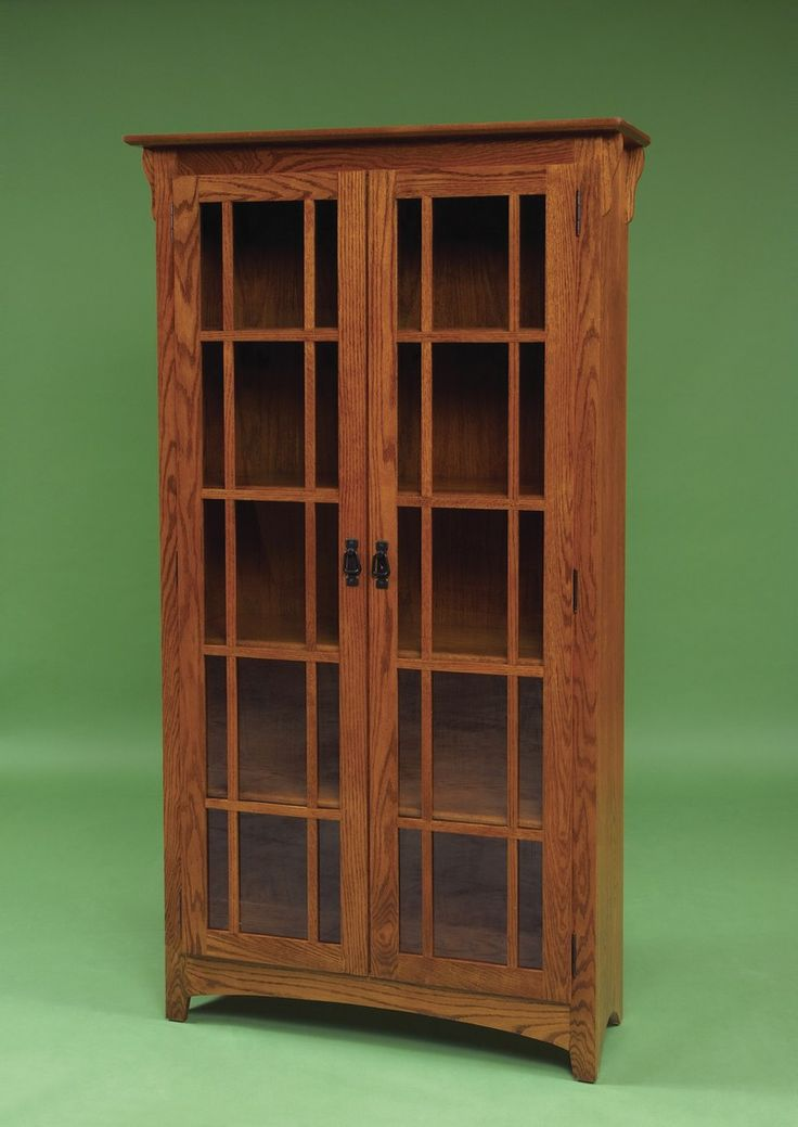 Amish mission double door bookcase for Craftsman style bookcase plans