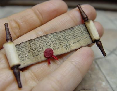 Miniatures: Scrolls and Paper bundles - follow link for other things like miniature books - wonderful