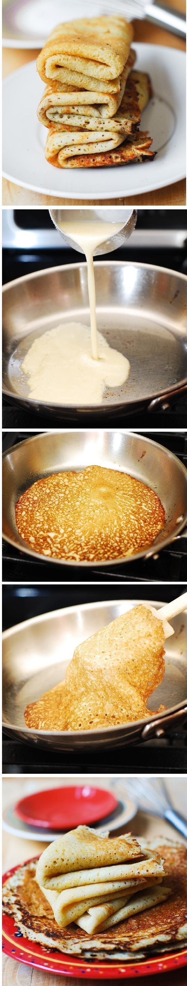 Step-by-step photos and instructions - How to make gluten free crepes from scratch using your favorite gluten free flour blend (homemade or store-bought) or gluten free waffle/pancake mix. They taste and look just like regular crepes! Dairy free and wheat free