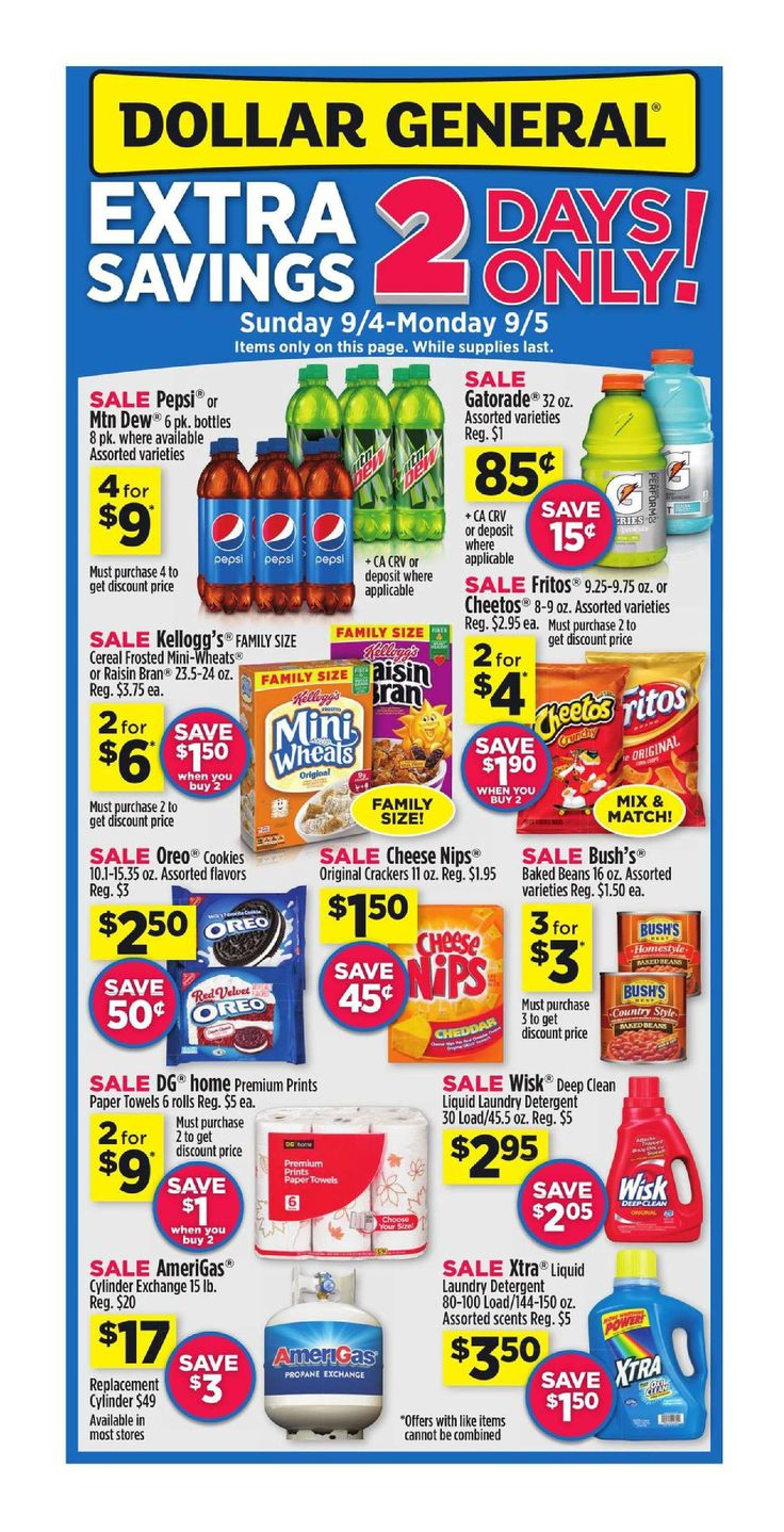 Dollar General Weekly Ad September 4 - 10, 2016 - http://www.olcatalog.com/grocery/dollar-general-weekly-ad.html