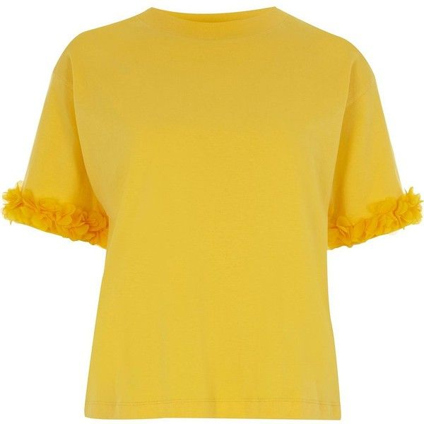 River Island Yellow flower sleeve boxy T-shirt ($44) ❤ liked on Polyvore featuring tops, t-shirts, plain t-shirts / vests, women, yellow, short sleeve t shirt, tall tees, short sleeve tops, crew-neck tee and crew neck t shirt