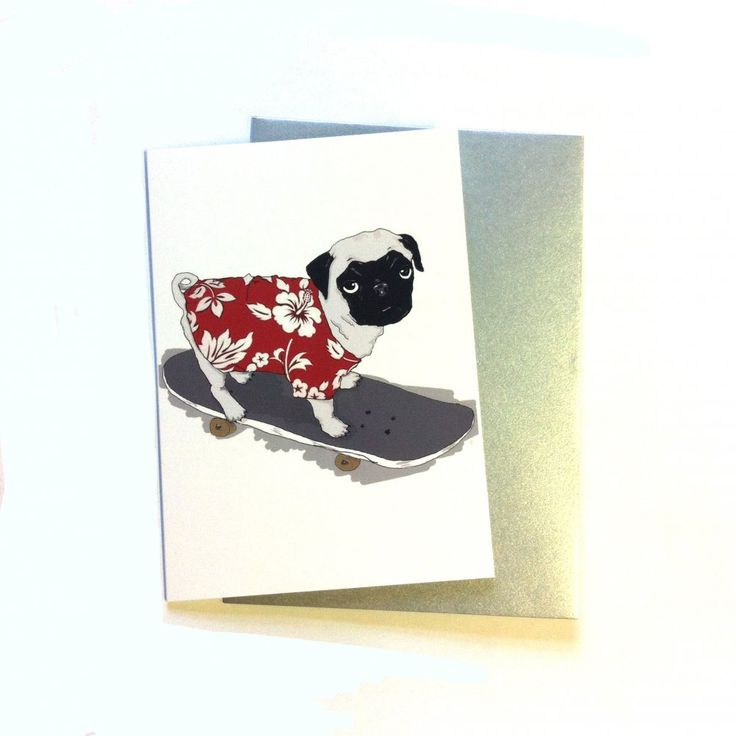 Cute #Pug Dog Greeting Card http://ow.ly/J09na  #PugPower #dogsoftwitter #Skateboarding #Cool