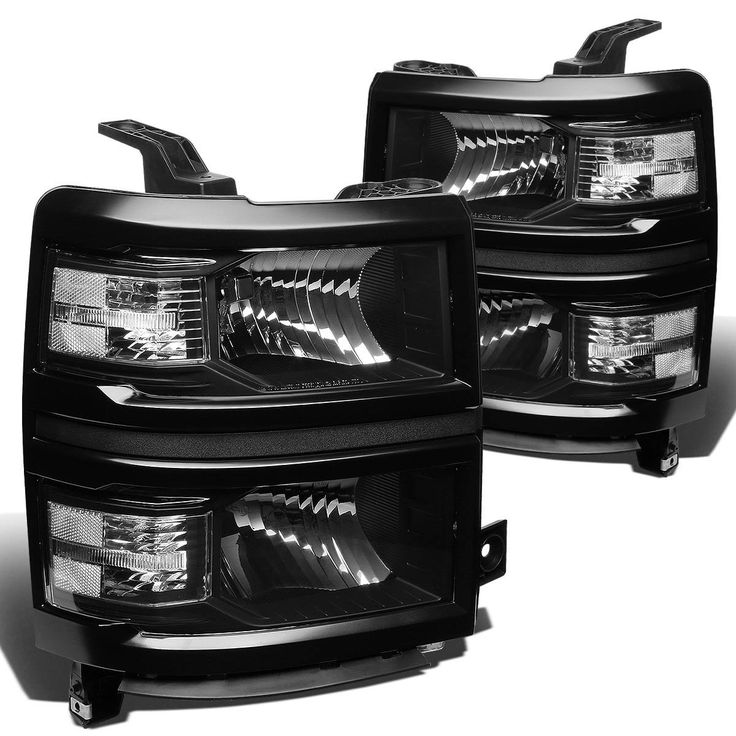 2014-15 Chevy Silverado 1500 Replacement Crystal Headlights - Black Clear