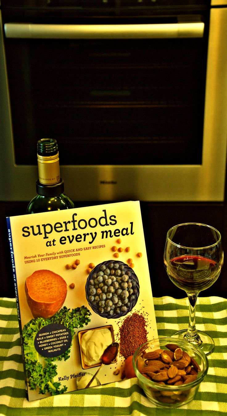 Week that Was in a Writer's Images Photoblog - Superfoods with some super wine, a hard day in front of the oven. Well a hard day taking a picture in front of the oven and that's about the extent of my relationship with the oven. In addition to some healthy meals in this book, there are also dessert recipes to make, well, for my wife to make. But I'll be there for support … with a bottle of wine; I'll even share.