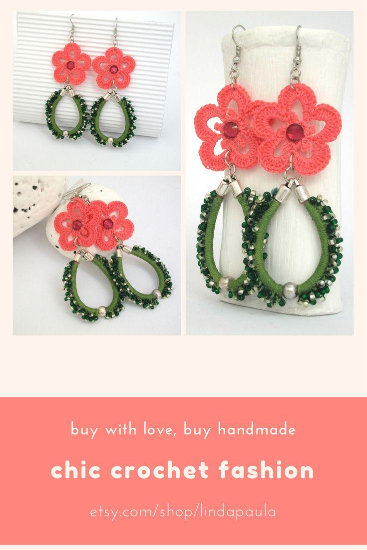 Crochet earrings. Handmade. Long earrings.