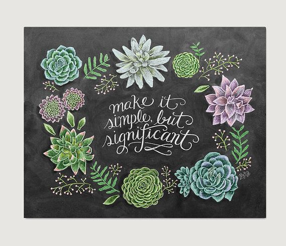 Succulent Wall Art - Chalkboard Decor - Chalkboard Art - Succulent Decor - Illustration - Chalk Art - Succulent Print- Succulents