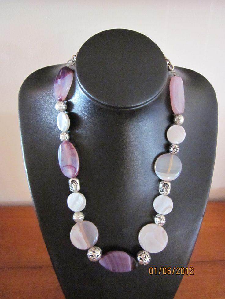 Necklace with purple agates