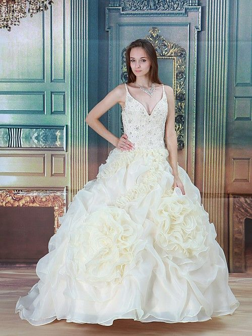 Renia - corte evasé cola corte vestido de novia de satén con cuentas