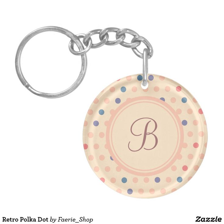 Retro Polka Dot Keychain #faerieshop #vintage #circle #polka #dot #trendy #pattern #retro #monogram #geometric #monogram #style #simple #abstract #old #design #beige #peach #red #blue #beautiful #fashion #modern #print #background #sale #zazzle #monogram #edit #customizable #gift #present #key #keychain