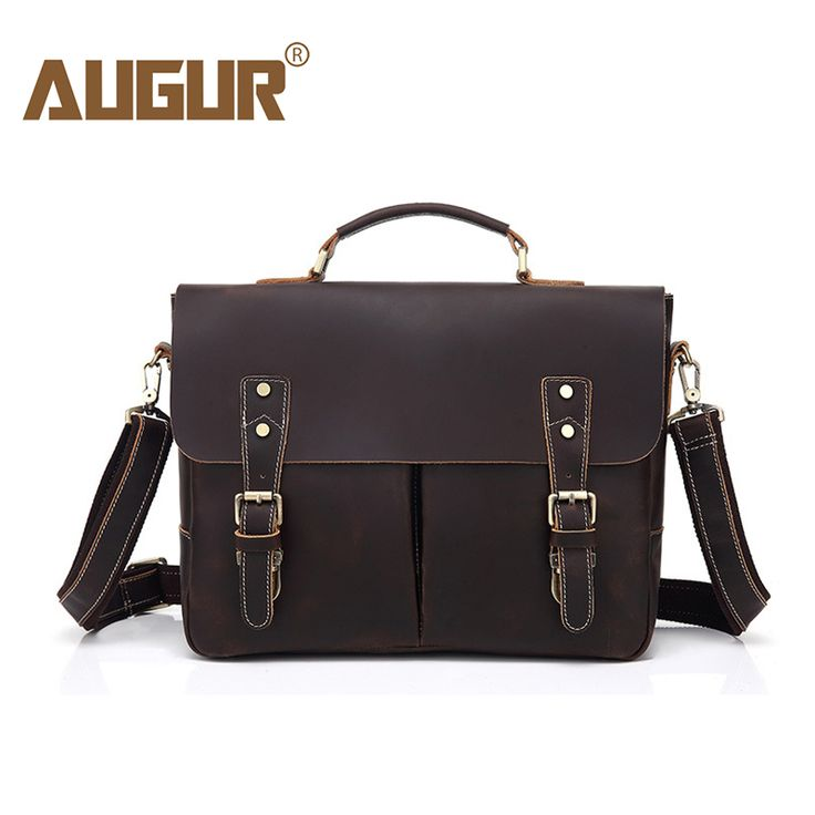 AUGUR Genuine Leather Men's Briefcase Handbags pasta executiva masculino maletin hombre Compter Laptop Bag