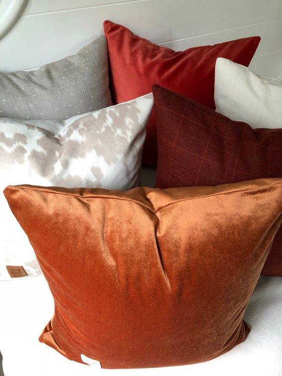 Velvet 18x18 inch Pillow Covers Rust Velvet Throw Pillows Cover Rust Shimmer