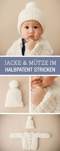 DIY-Anleitung: Kleine Jacke und passende Mütze für Babys stricken, Kleidungsset / DIY tutorial: knitting small jacket and matching cap for babies, outfit set via DaWanda.com