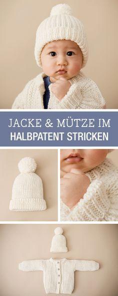 DIY-Anleitung: Kleine Jacke und passende Mütze für Babys stricken, Kleidungsset / DIY tutorial: knitting small jacket and matching cap for babies, outfit set via DaWanda.com