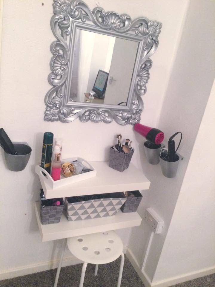 DIY dressing table IKEA hack Floating shelf Grey&white Girls bedroom