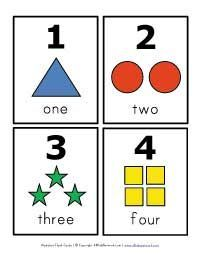 Free printable number flashcards (also can use for learning shapes and colors)