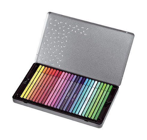Stylo feutre Stabilo Pen 68 - Boîte de 40 couleurs assorties, Feutres à dessin