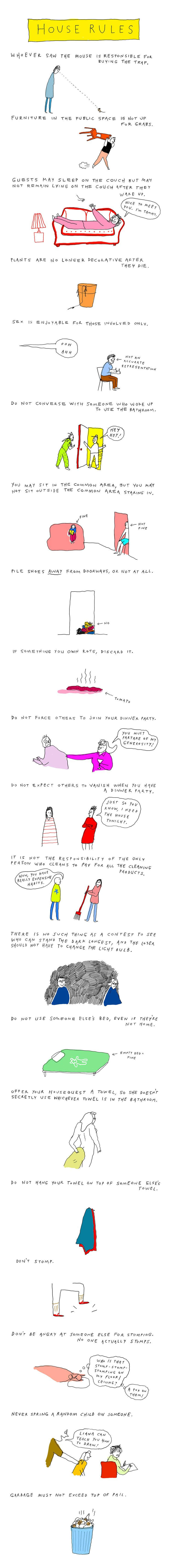 Living with roomates cartoon, rules that exist | ILLUSTRATION BY LIANA FINCK