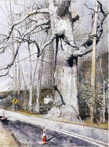 Andrew Wyeth 'Walking Stick' 2002   by Plum leaves