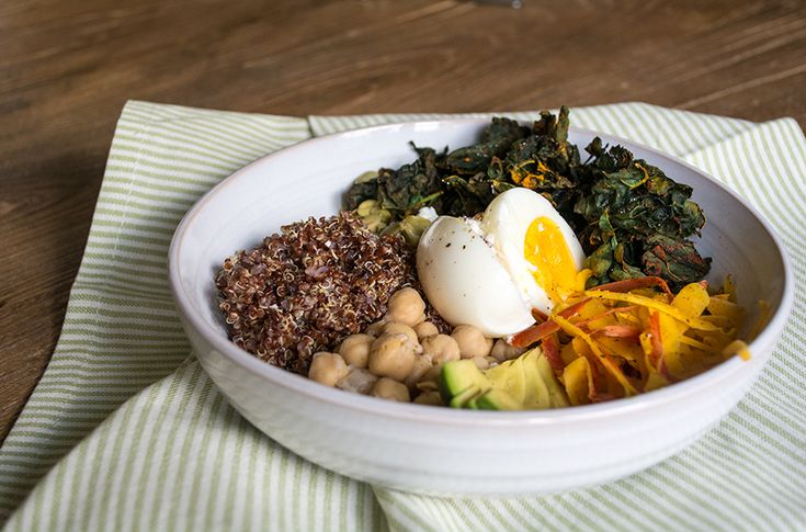 Kale and Quinoa Veggie Bowl with Soft Boiled Egg