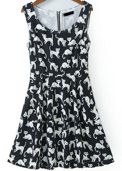 black sleeveless cats print zipper dress pictures