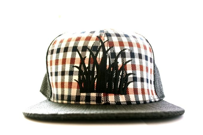 Black straw and Tartan Snapback cap by: Grassbacks by Grassbacks