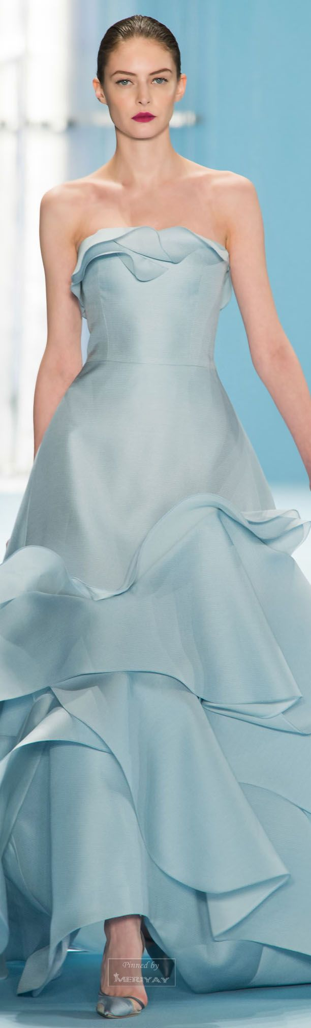 Carolina Herrera ~ Fall Strapless Evening Gown, Pale Blue,2015.
