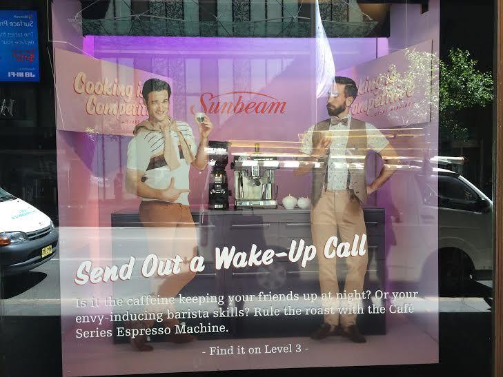 the Coffee Maker & Mixer Campaign for @Sunbeam Installation at David Jones on Market Street in Sydney's CBD. Install date: December 14th, 2014.