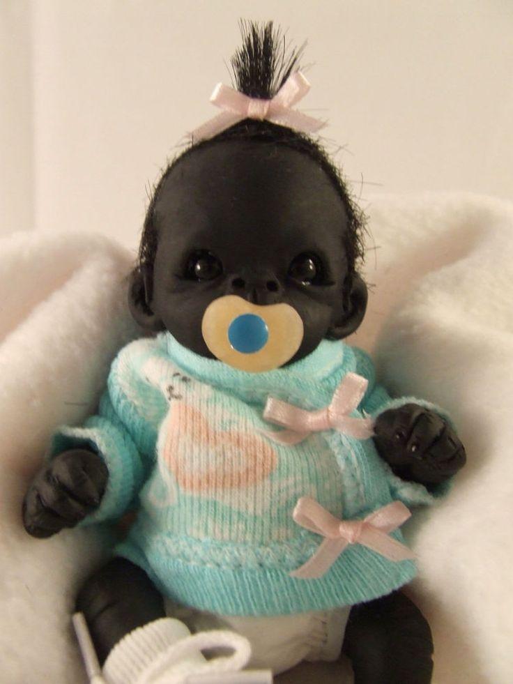 OOAK Baby Gorilla Monkey Girl Sculpted Polymer Clay Art Doll Valentine #Dolls