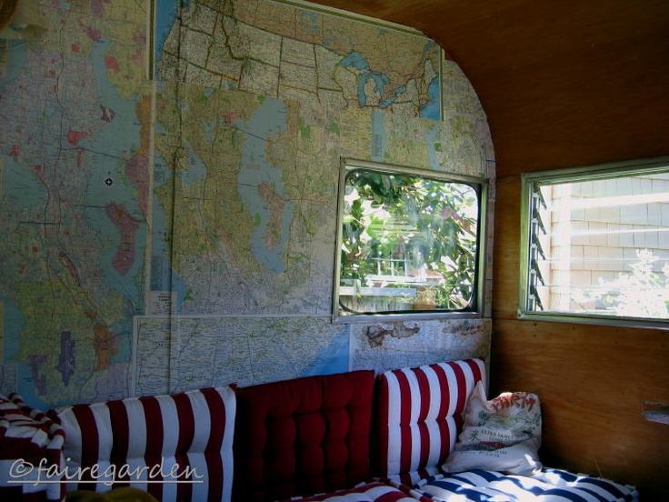 Lovin' the look: Maps as wallpaper in vintage trailer remod